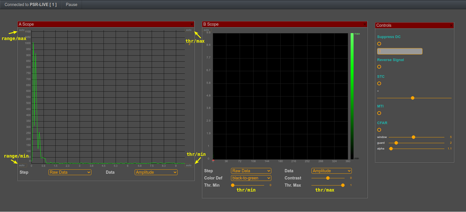 setting maximum and minimum range as well as maximum and minimum theshold in FreeScopes for Pulse and Doppler radars