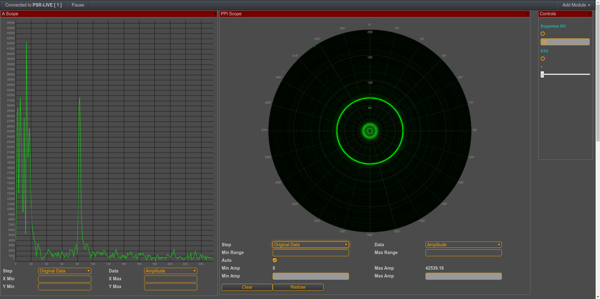 PSR Radar - And we can add PPI-Scope from the Add Module menu. It's possible to select and show different processing steps in PPI, also showing I, Q or Amplitude data, is possible.