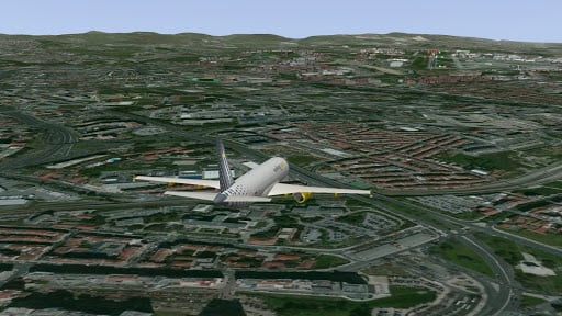 Over-land flight simulated in SkyRadar's tower simulator