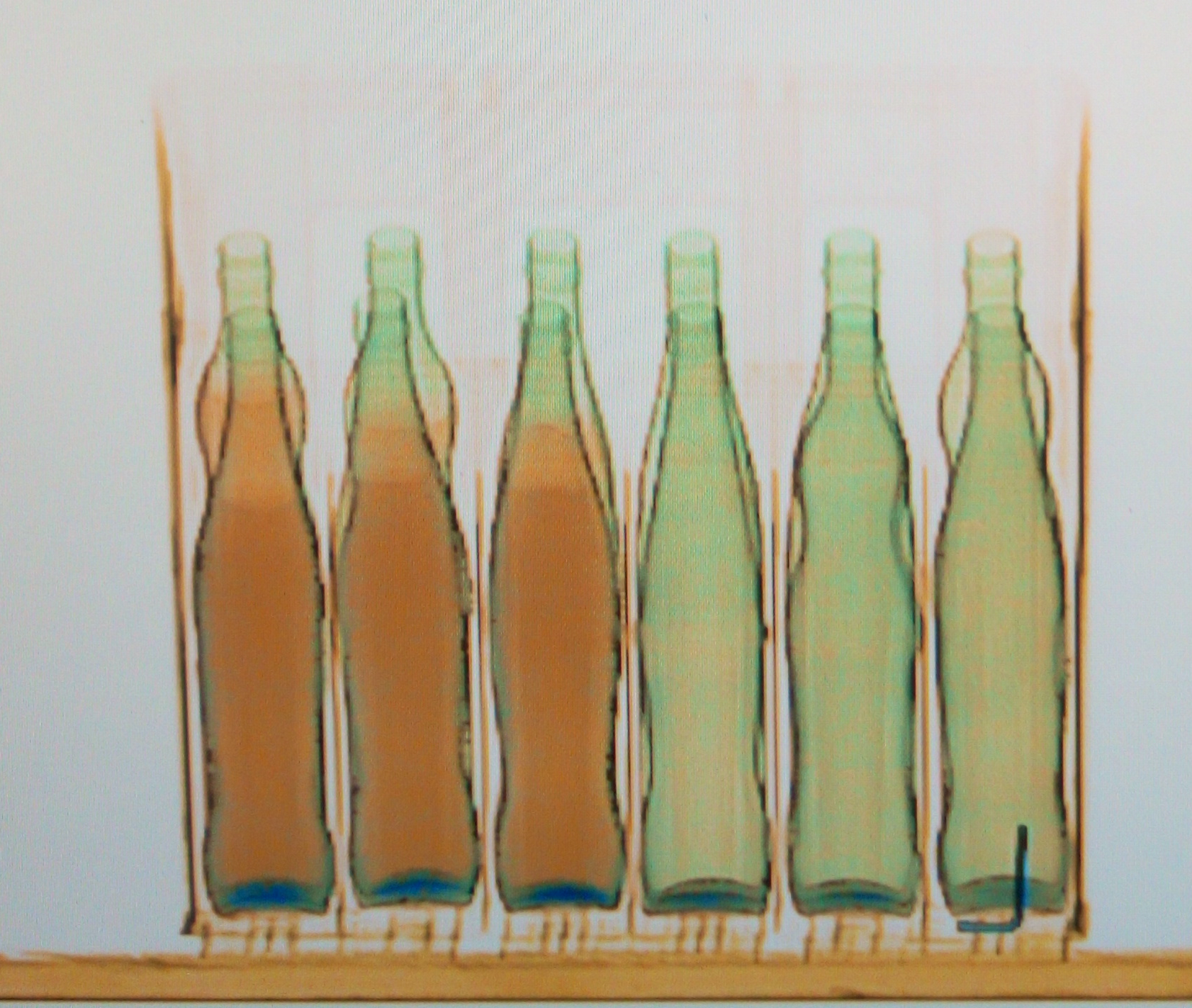 bottles in the x-ray simulator